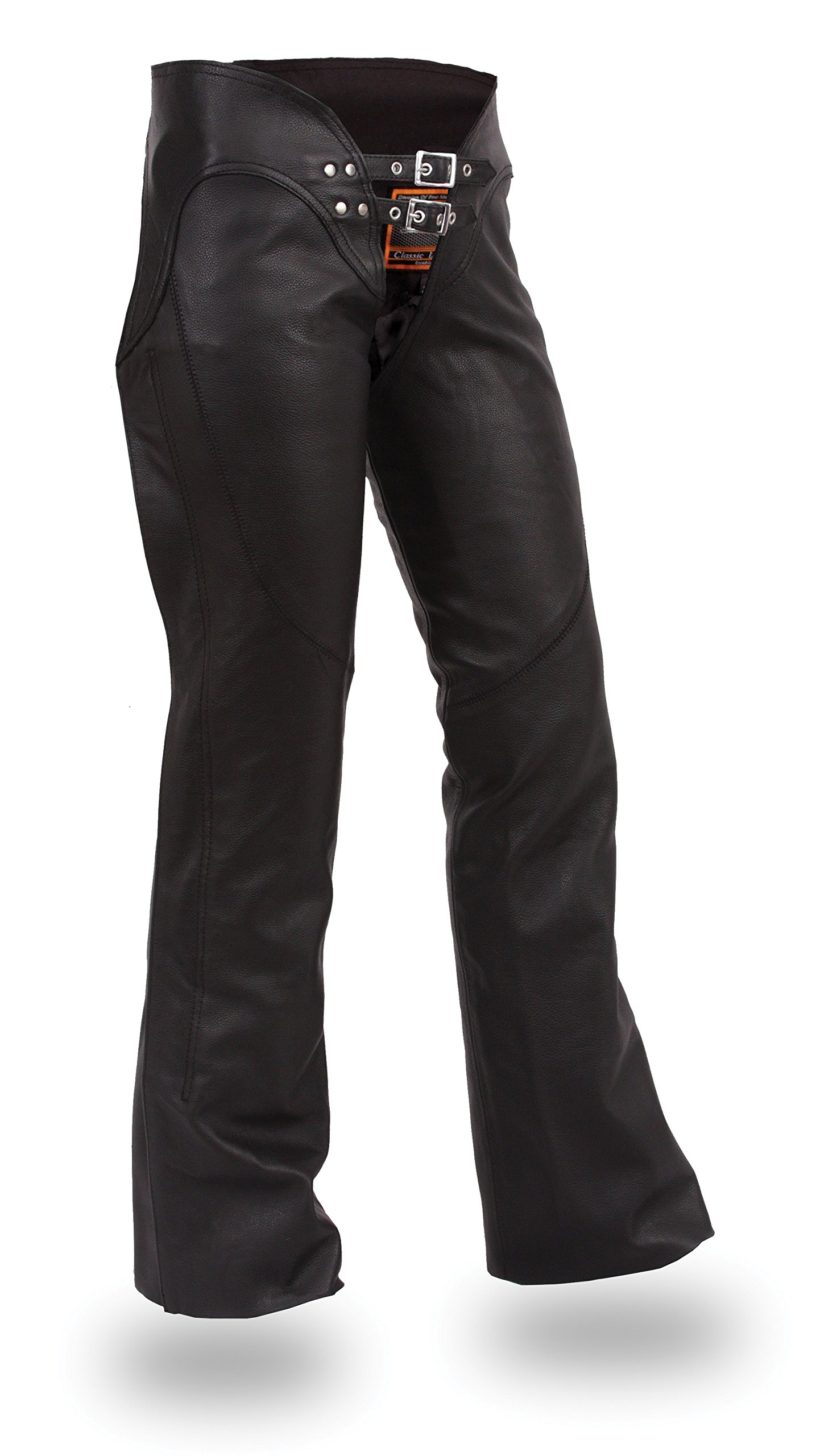 Ultimate Leather Apparel Ladies Low Rise Leather Motorcycle Chaps with Lacing on Back of Thigh 3XL Black