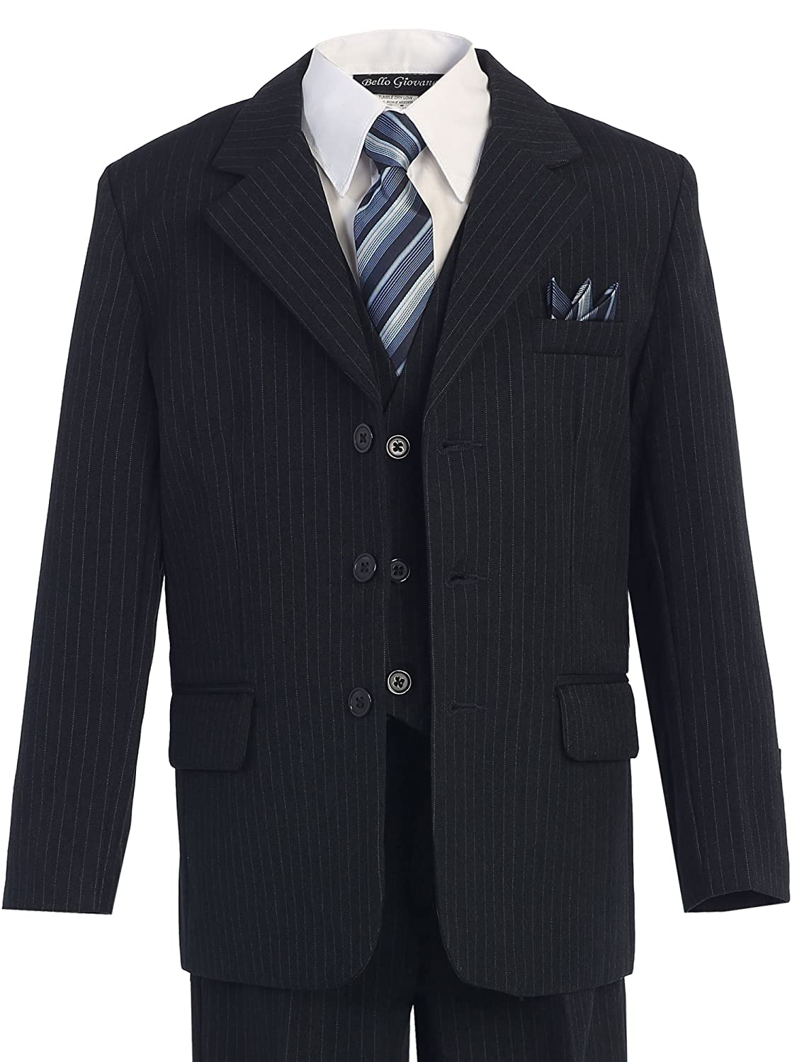 Bello Giovane Boys Pinstripe 5-piece Suit