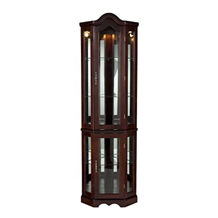 Amazon Com Southern Enterprises Lighted Corner Curio Cabinet