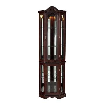 Nice Southern Enterprises Lighted Corner Curio Cabinet, Mahogany Finish With  Antique Hardware