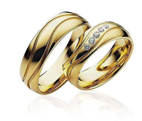 Eheringe Partnerringe Trauringe Verlobungsringe Freundschaftsringe in Gold Plattiert 6mm Breit *mit Gravur und Steine* P104