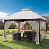 AsterOutdoor 10x12 Outdoor Gazebo for Patios Canopy for Shade and Rain with Mosquito Netting, Waterproof Soft Top Metal Frame