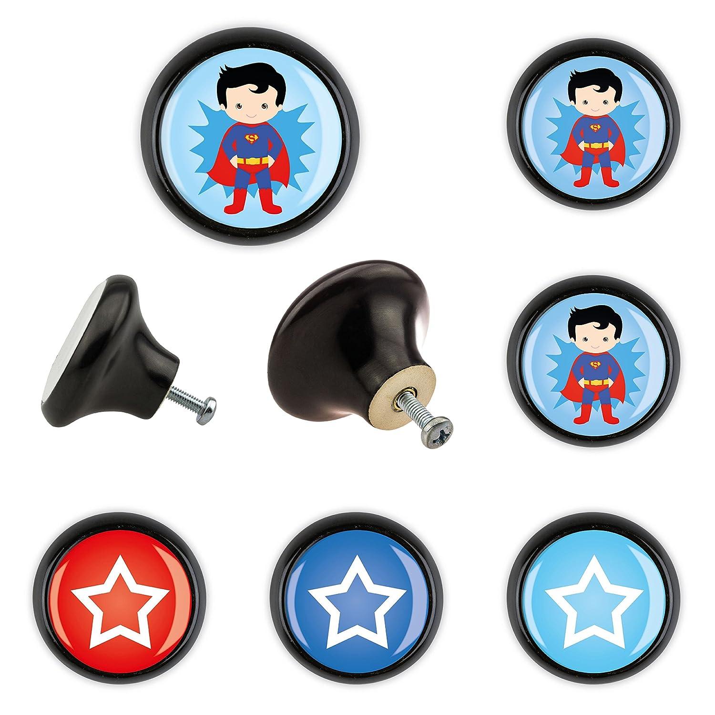 Set di 6 pomelli per mobili in ceramica KK6000575S Superman ...
