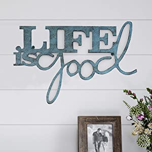Lavish Home Metal Cutout-Life is Good Wall Sign-3D Word Art Home Accent Decor-Perfect for Modern Rustic or Vintage Farmhouse Style