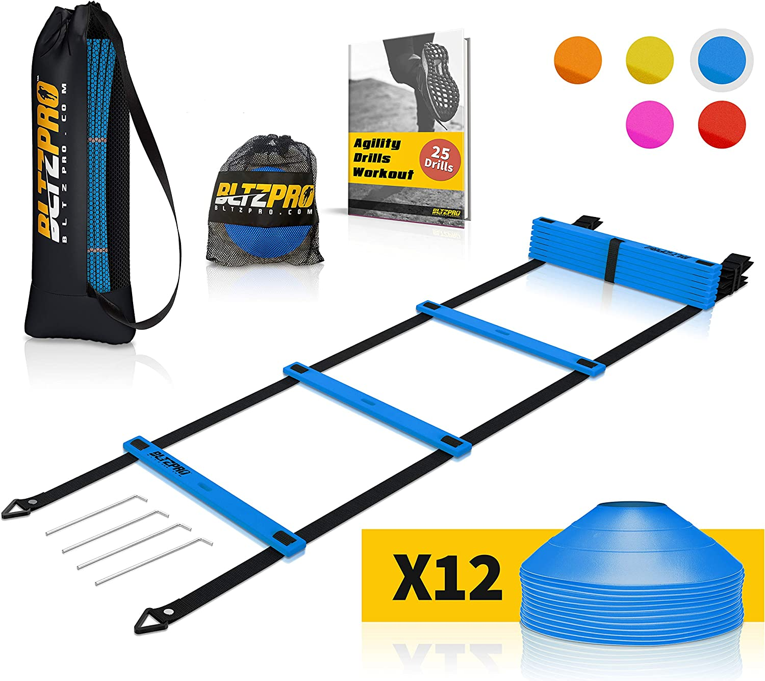Bltzpro Football and Soccer Training Equipment – Cones Agility Ladder Speed Practice kit for Kids and Coaches – Conditioning and Footwork Workout Gear – Includes 2 Bags 24 Agility Drills eBook