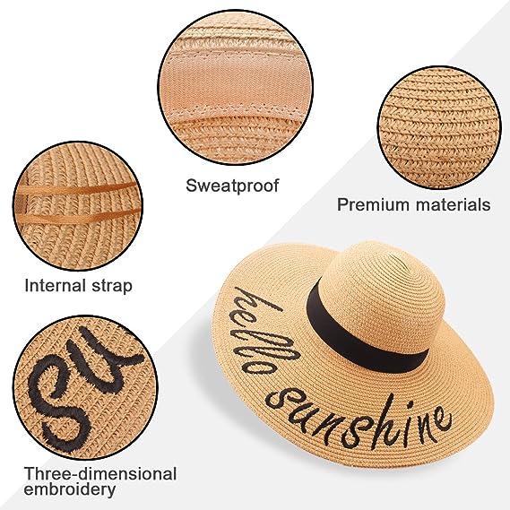 1b494818e7035 Jane Shine Women Sun Hat do not Disturb Cursive Embroidered Beach Pool  Straw Floppy at Amazon Women s Clothing store
