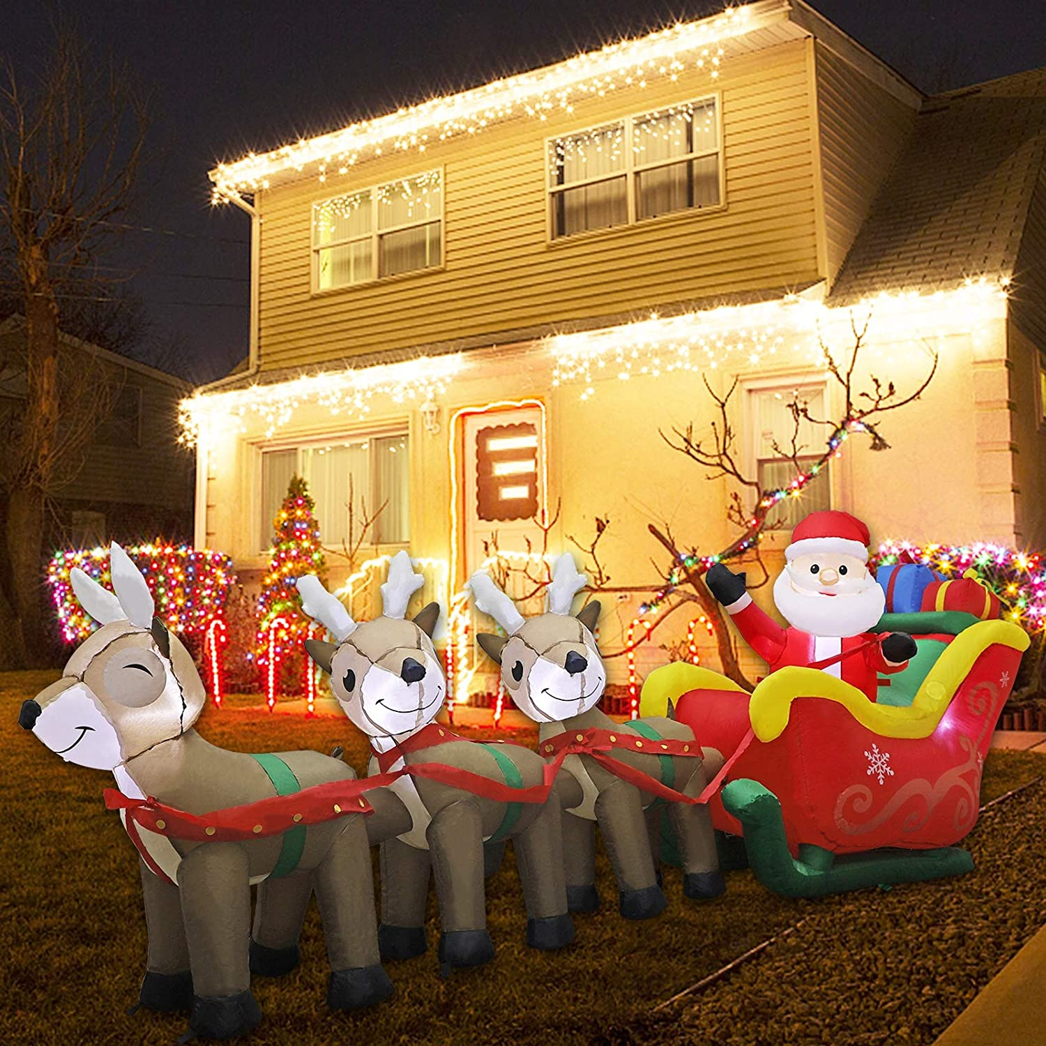 MorTime 9.5 FT Christmas Inflatable Santa Claus on Sleigh Pulled by Three Reindeers with Gift Boxes, Blow up Airblown Lighted Xmas Yard Decor with LED Lights for Christmas Outdoor Decorations (9.5FT)