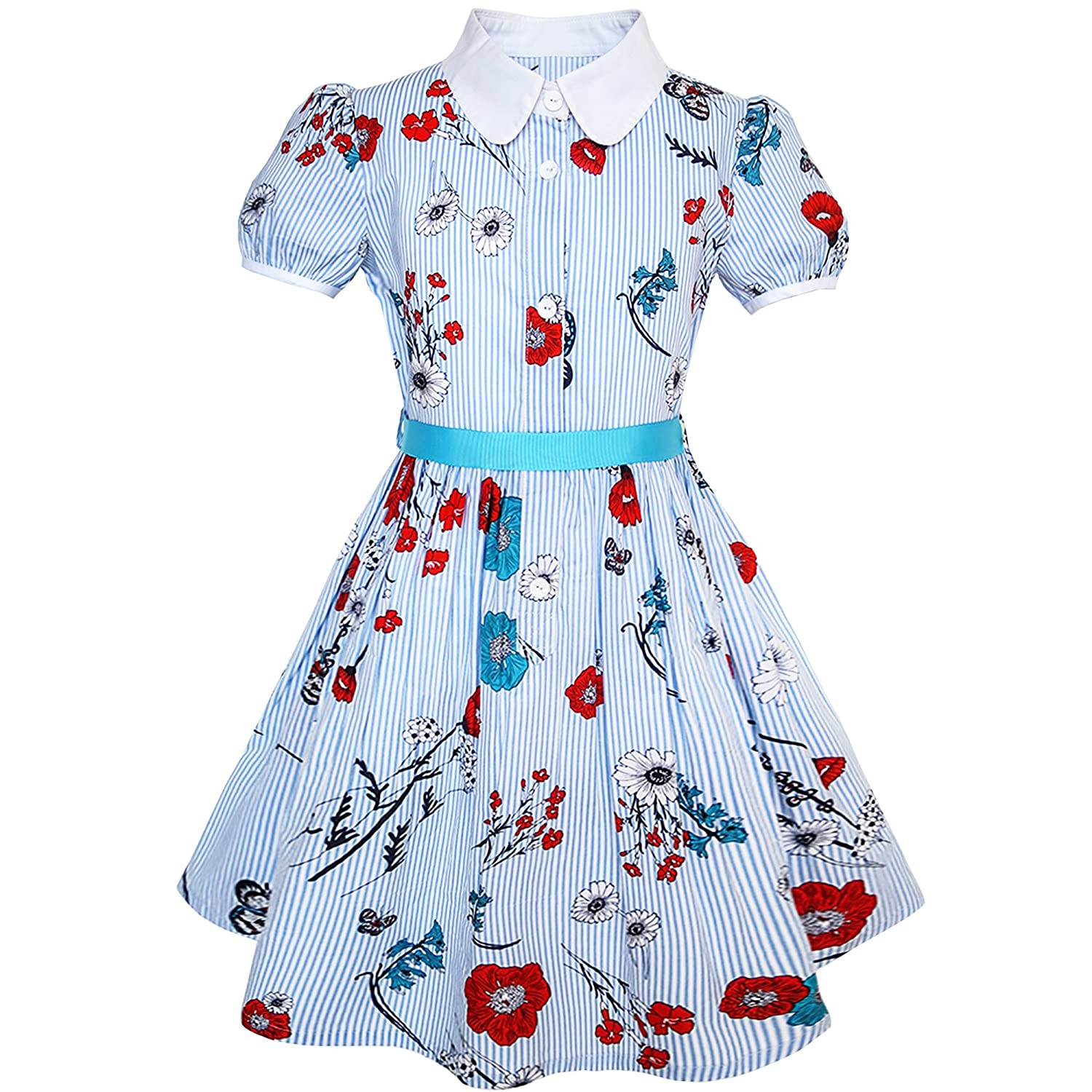 Sunny Fashion Girls Dress School Blue Strip Butterfly Print Gingham Size 4-10