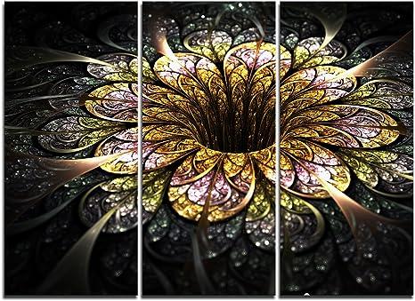 Amazon Com Designart Pt11833 3p Dark Golden Fractal Flower Large Floral Canvas Art Print 36x28in Multipanel 3 Piece 36x28 3 Panels Gold Posters Prints