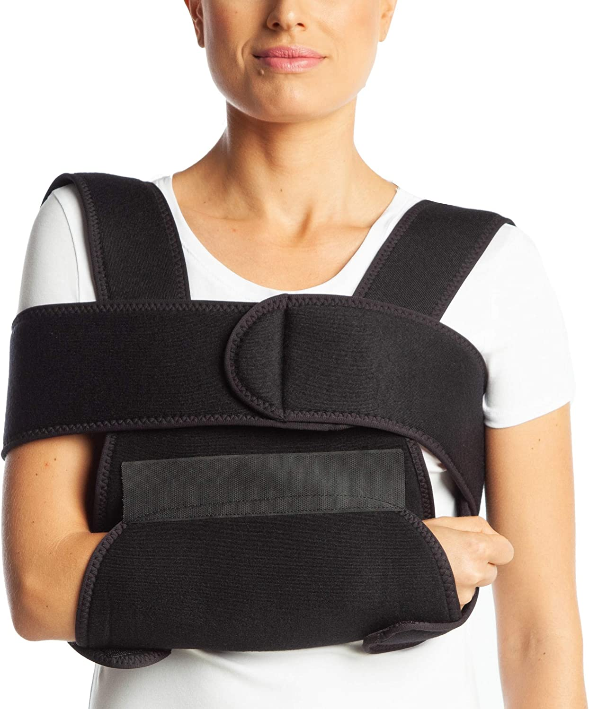 Cabestrillo de ArmoLine, transpirable, para inmovilizar el brazo o la muñeca rotos, para adultos, de tela, negro