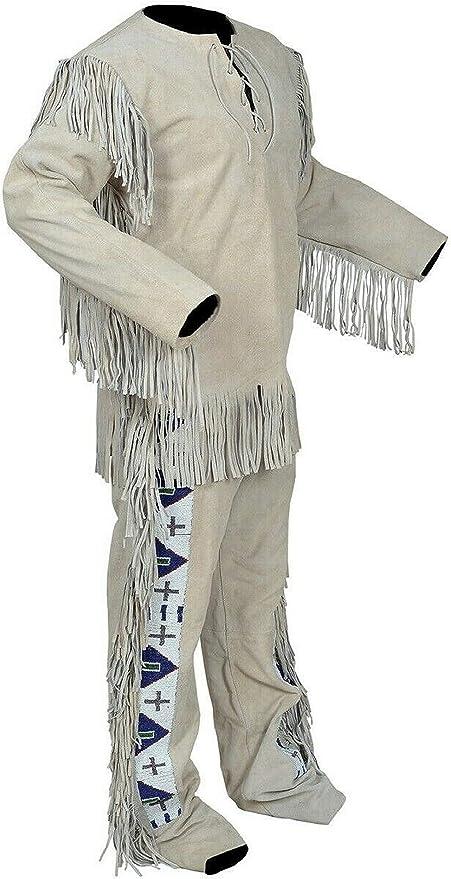 Native American Western Wear Suede Leather Jacket Fringes /& Beads Work War Shirt