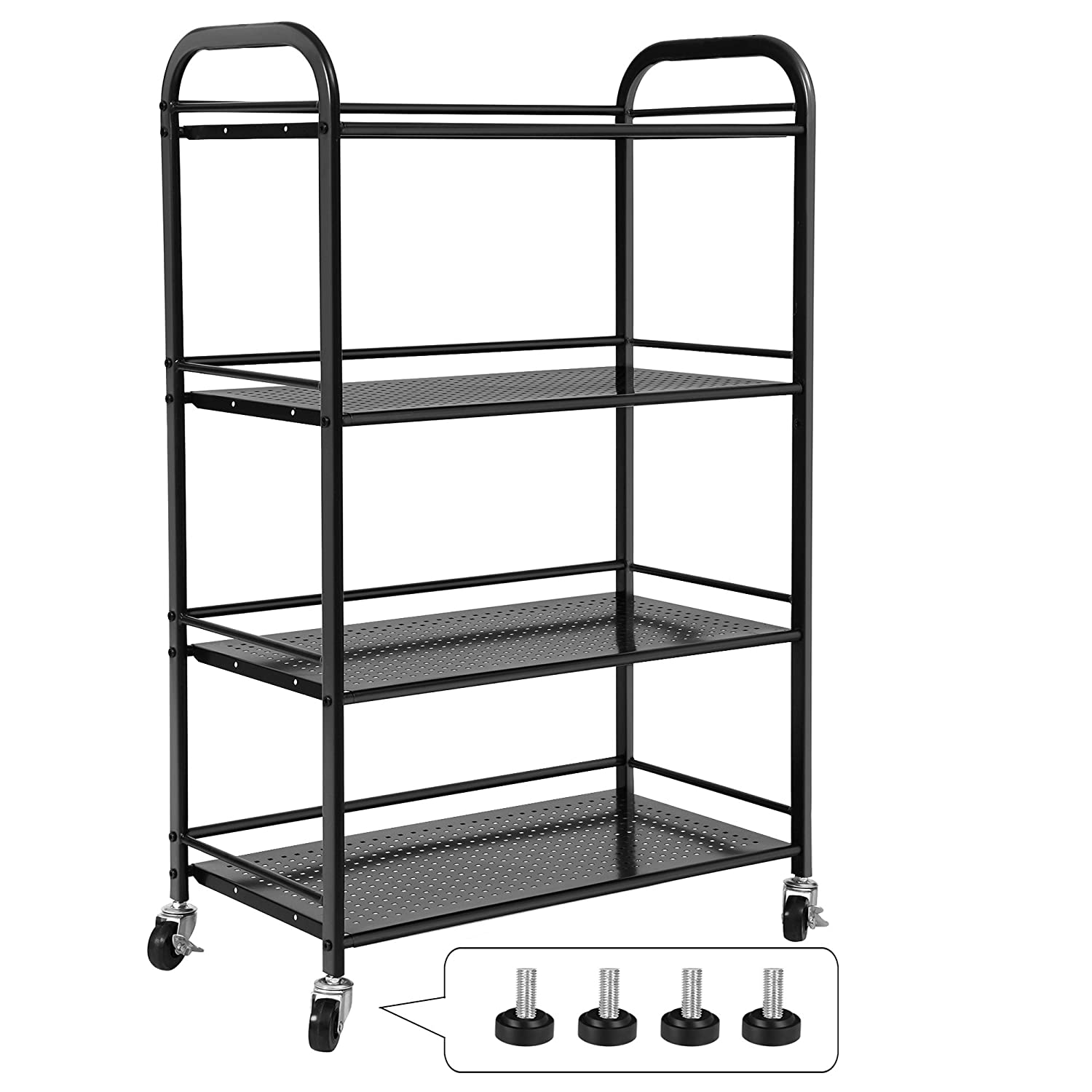 SONGMICS 4 Tiers Storage Cart Utility Trolley for Kitchen Pantry Bathroom on Casters or Adjustable Feet Black UBSC14B
