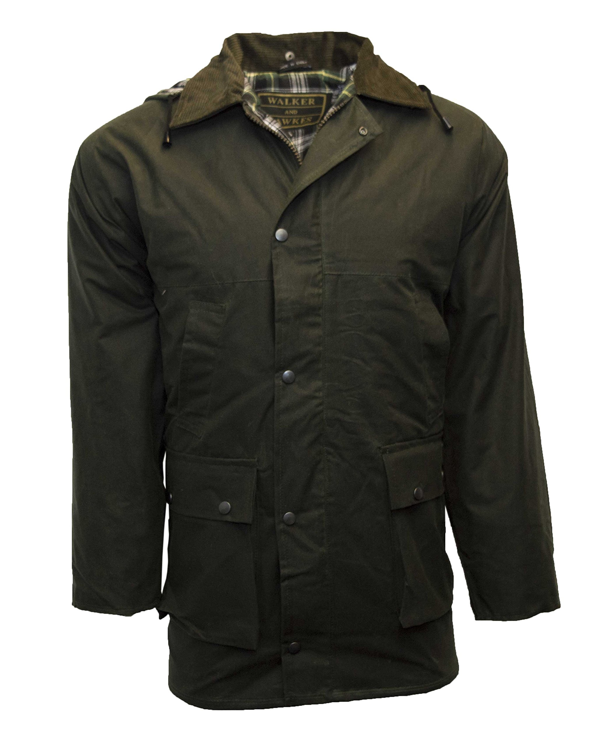 Walker & Hawkes - Mens Unpadded Wax Jacket Countrywear Hunting Waxed Coat - Olive - XXX-Large by Walker and Hawkes (Image #2)