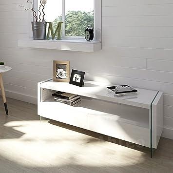 Moderno mueble de TV gabinete - mueble para televisor, color blanco ...