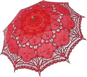 BABEYOND Lace Umbrella Parasol Vintage Wedding Bridal Umbrella for Decoration Photo Lady Costume 1920s Party (Red)