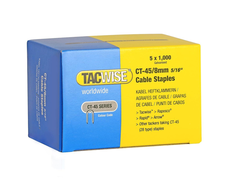 Tacwise 0351 Grapas para Cables galvanizadas y de Puntas divergentes CT-45/8 mm (5 x 1000 Unidades), está ndar, 8 mm, Set de 5 Piezas estándar