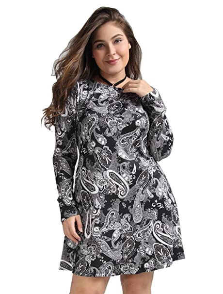 Oeuvre Womens Plus Size Pocket Floral Stretch Casual Long Sleeve