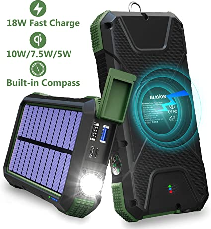 BLAVOR Solar Charger Power Bank 18W, QC 3.0 Portable Wireless Charger 10W/7.5W/5W with 4 Outputs & Dual Inputs, 20000mAh External Battery Pack IPX5 ...