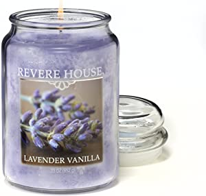 CANDLE-LITE Revere House Scented Lavender Vanilla Single Wick 23oz Large Glass Jar Candle, Fresh Aromatic Fragrance