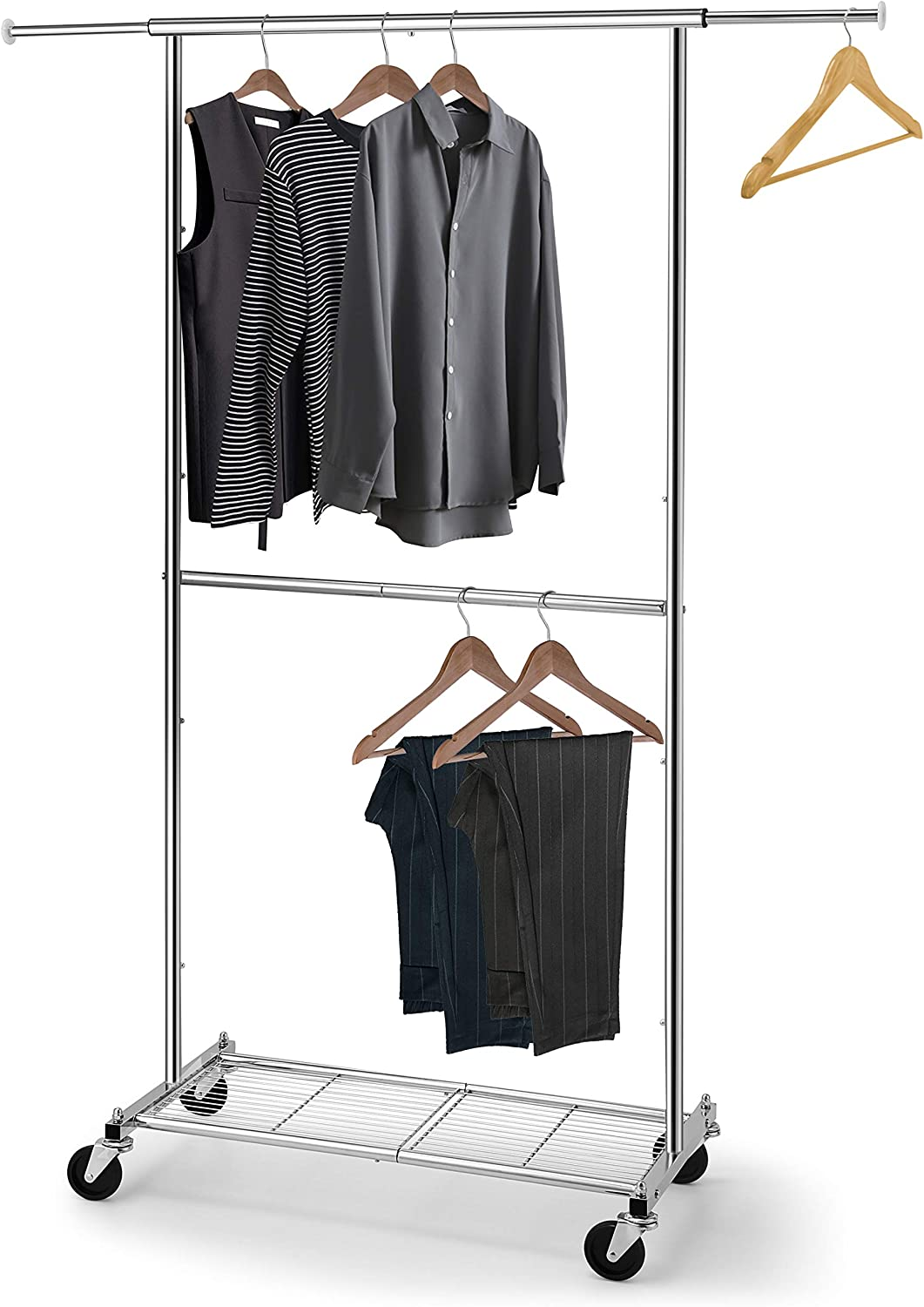 Simple Trending Standard Clothing Garment Rack, Rolling Clothes Organizer with Wheels and Bottom Shelves, Extendable, Chrome