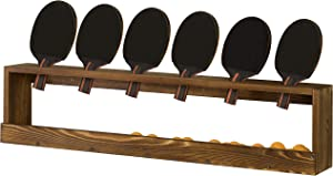 MyGift Rustic Wood Wall-Mounted Ping Pong Paddle Display Rack with Ball Storage Holder Shelf