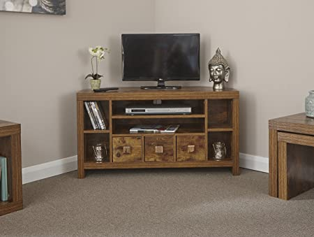 Home Source Particle Board Sturdy Walnut Effect 3 Drawer 3 Shelf