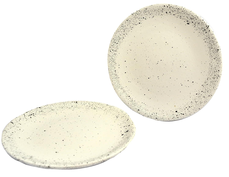 Roro 8 Inch cerámica gres blanco/crema con puntos blancos para aperitivos plato conjunto de 2: Amazon.es: Hogar