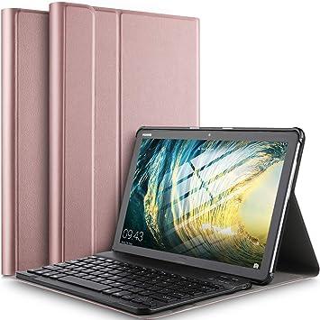 IVSO Teclado Estuche para Huawei MediaPad M5 Lite 10 (QWERTY English), Slim Stand Funda con Removible Wireless Teclado para Huawei MediaPad M5 Lite 10.1 Pulgadas, Oro Rosa: Amazon.es: Electrónica