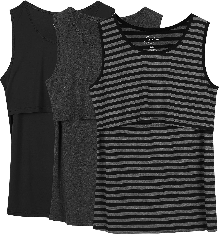 Sosolism 3 Pack Comfy Maternity Nursing Tank Tops Cami for Pregnant Women Breastfeeding Sleeveless Shirt Vest at  Women's Clothing store