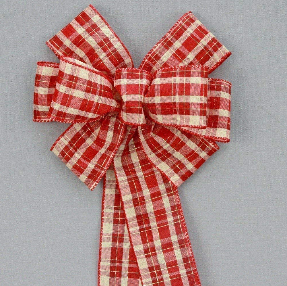Red Burgundy Ivory Plaid Christmas Wreath Bow - available in 2 sizes