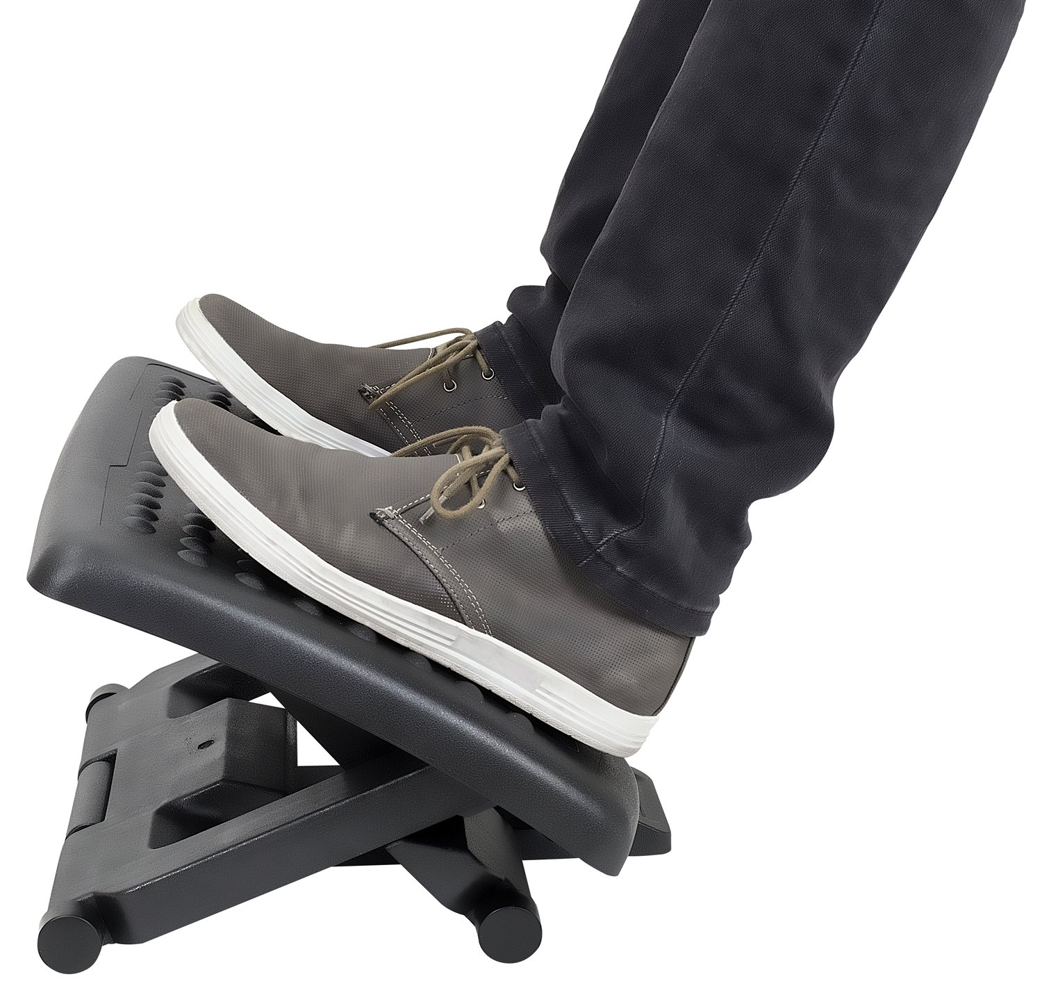 Mount-It! Ergonomic Footrest with Massaging Rollers Adjustable Angle and Height Office Foot Rest Stool for Under Desk Support, 18 x 13 in, 3-Level Height Adjustment, Black