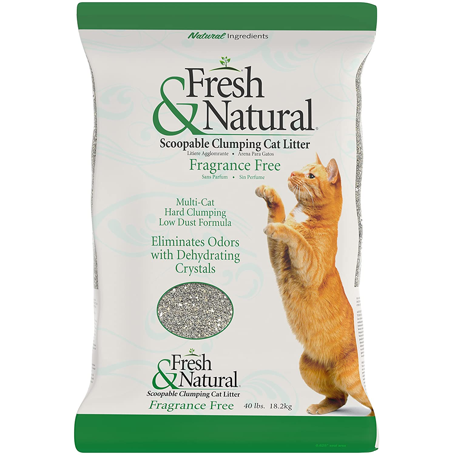 Amazon.com : Fresh & Natural Scoopable Clay Cat Litter, 40-Pound, Fragrance Free : Pet Supplies