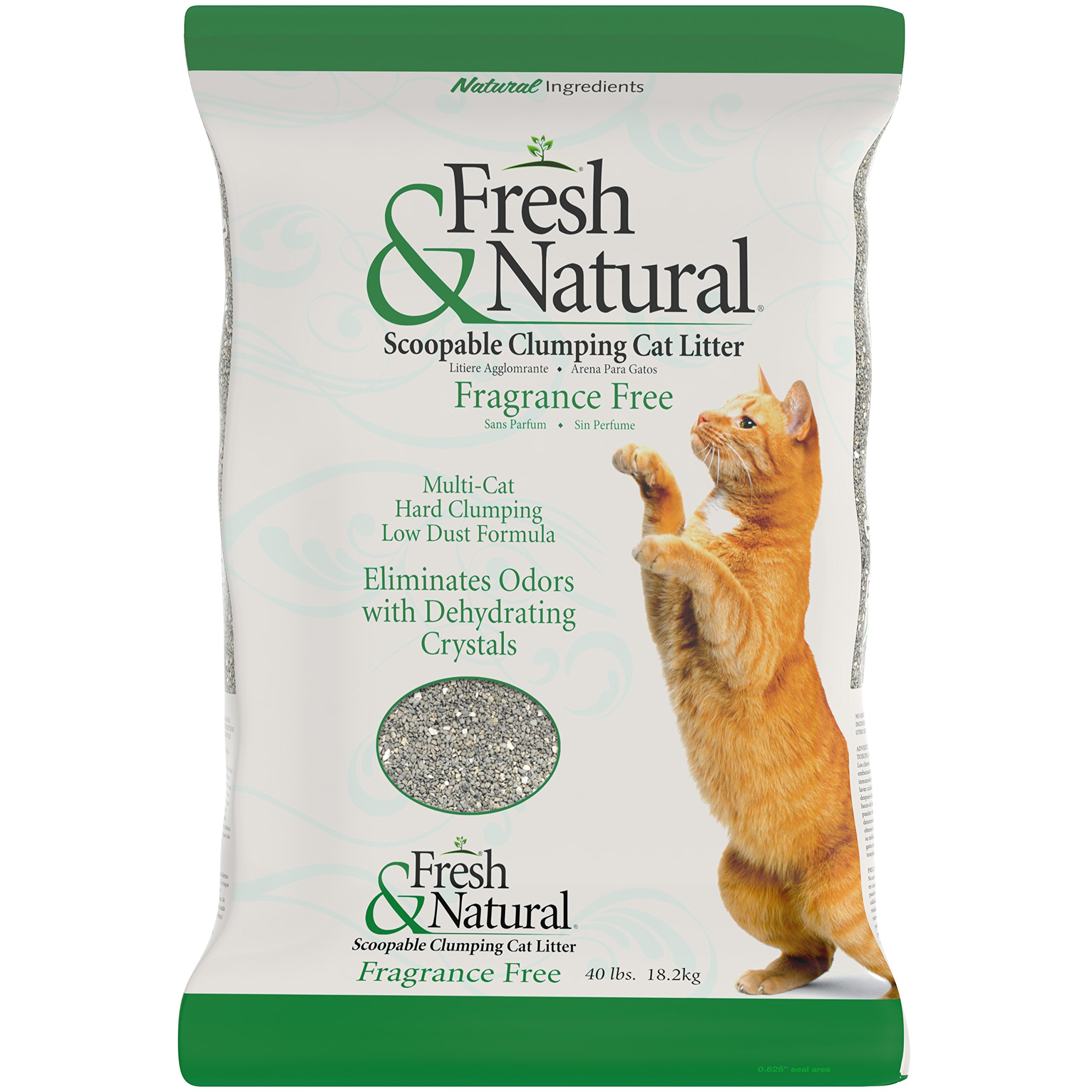Fresh & Natural Scoopable Clay Cat Litter, 40-Pound, Fragrance Free by Fresh & Natural
