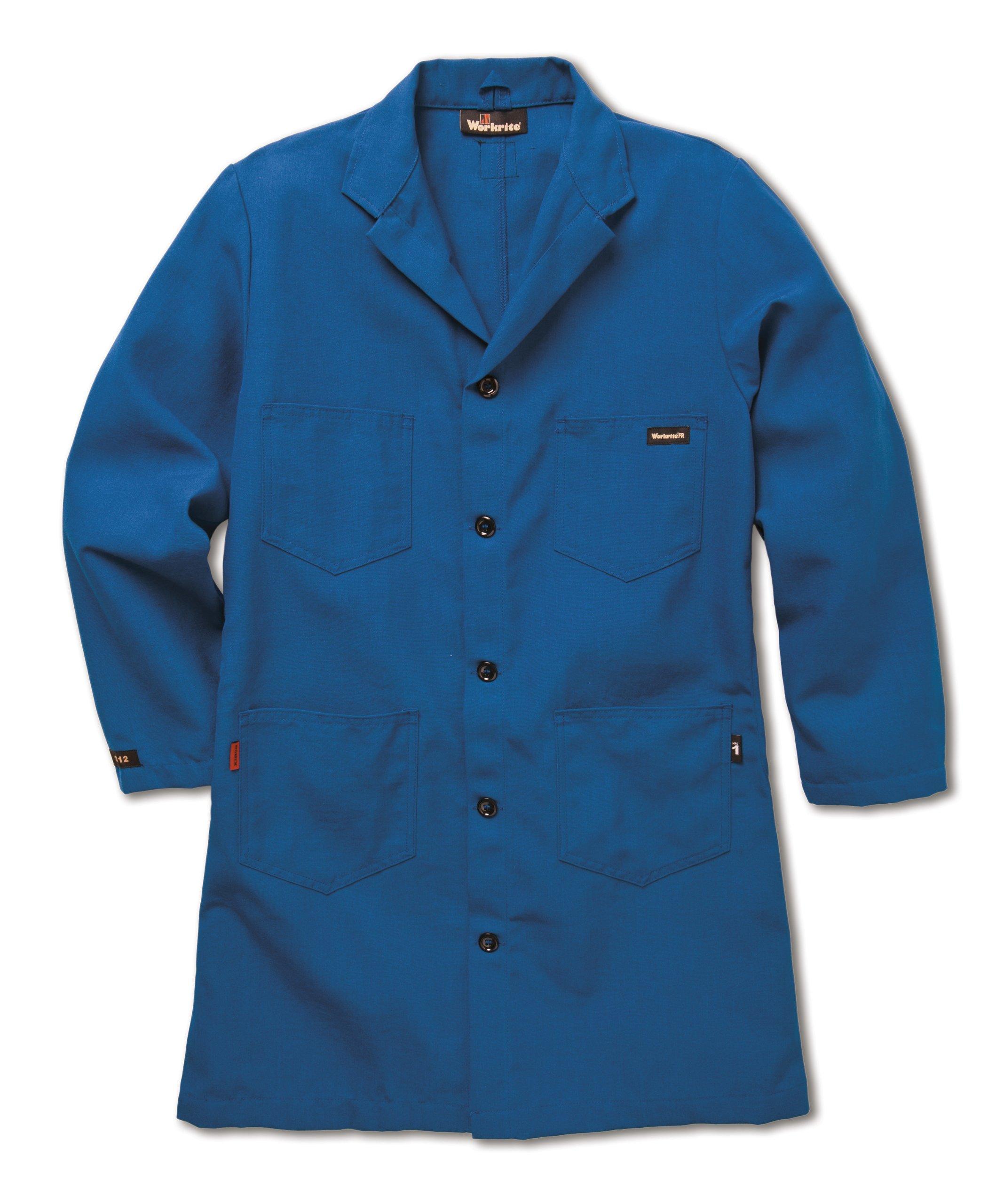 Workrite FR Flame Resistant 6 oz Nomex IIIA Lab Coat, X-Large, Regular Length, Royal Blue