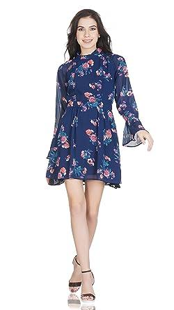 SELFreak Womens Full Sleeves Cocktail Wear Midi Frock Dress (Floral Print  Blue 7e63e0c40