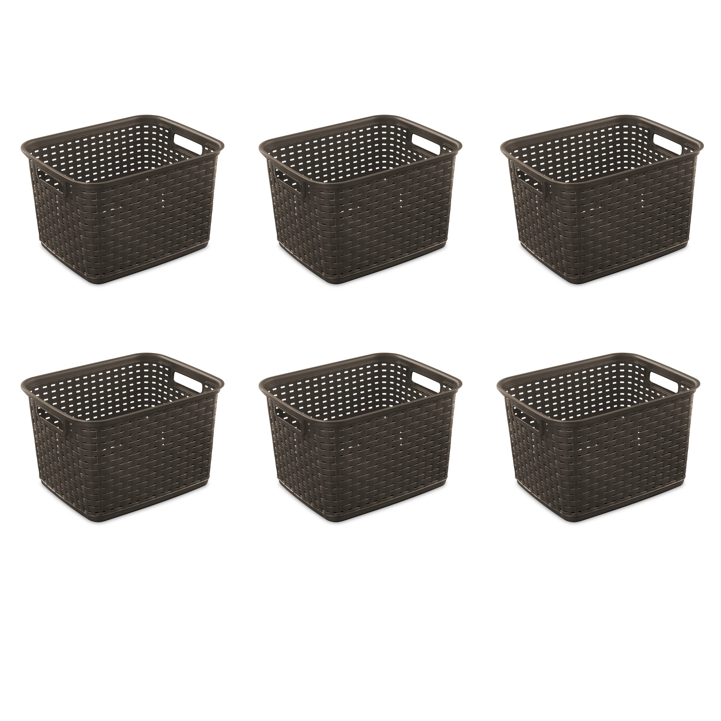 Sterilite 12736P06 Tall Weave Basket, Espresso, 6-Pack by STERILITE