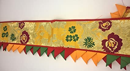 Tibetan Table Runner For Buddha Offerings   Gesland Flowers And Golden  Sacred Buddha Fig Tree Leaves