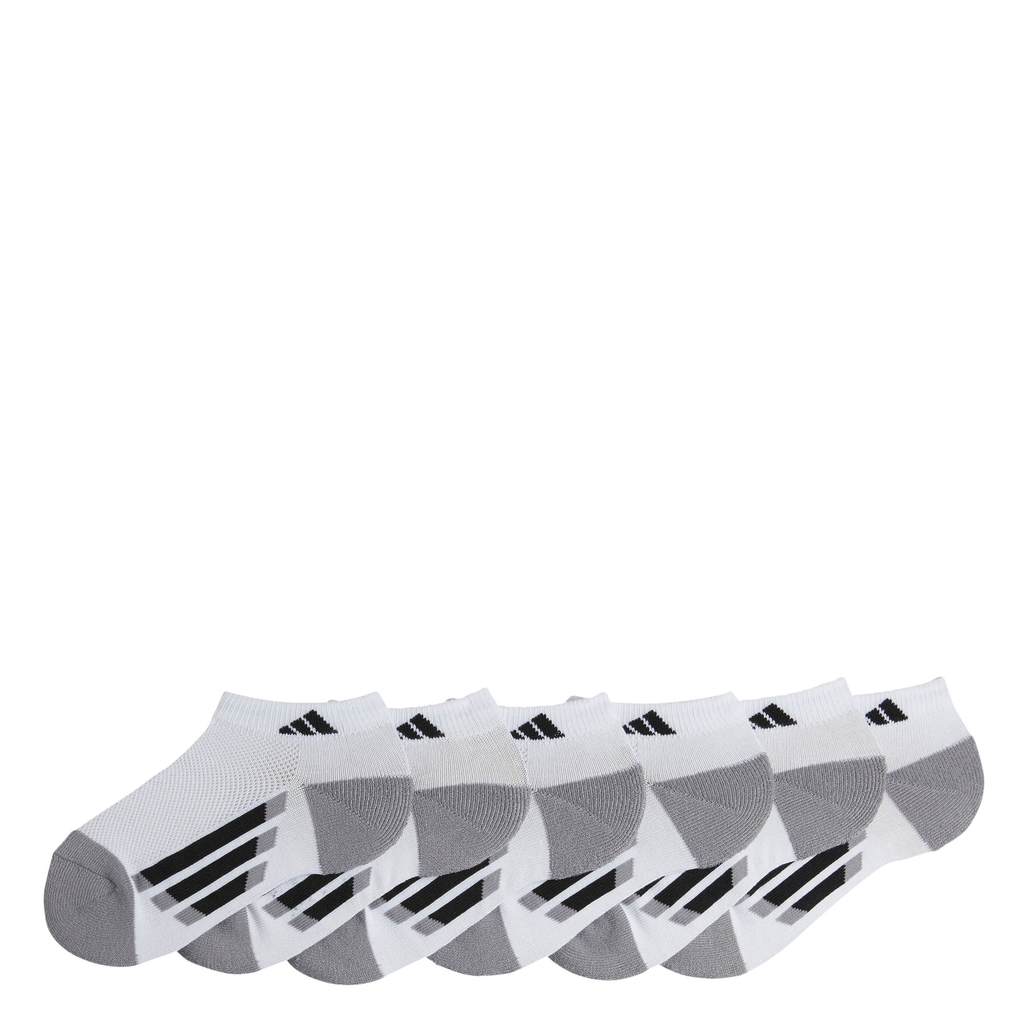 adidas Youth Kids-Boy's/Girl's Cushioned Low Cut Socks (6-Pair), White/Black/Light Onix, Large, (Shoe Size 3Y-9) by adidas
