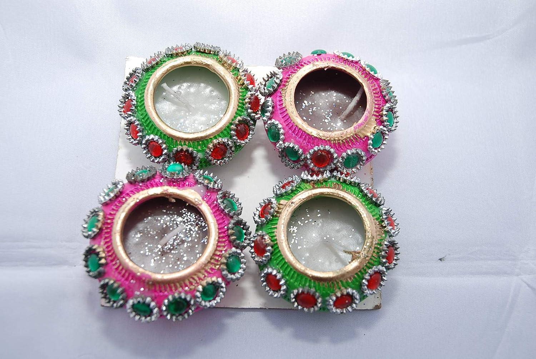 Gifts and More Gifts - Juego de 4 velas indias (borde dorado), color verde y rosa