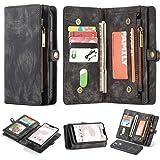 Google Pixel 3A XL Leather Wallet Zipper Purse Detachable Card Slots Holder Flip Case Magnetic Wrist Strap Handle Shockproof