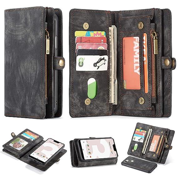 promo code 3c52b fd741 Google Pixel 3 Leather Wallet Zipper Purse Detachable Card Slots Holder  Flip Case Magnetic Handle Shockproof Cover Pocket Wallet Handbag for Google  ...
