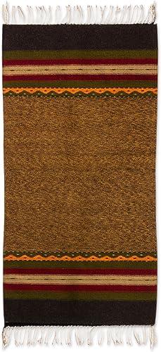 NOVICA Brown and Earthtone Zapotec Wool Area Rug 2.5' X 5'