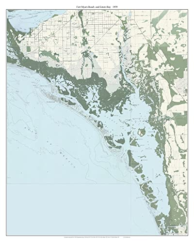 Amazon.com: Fort Myers Beach and Estero Bay, Florida 1958 Topo Map ...