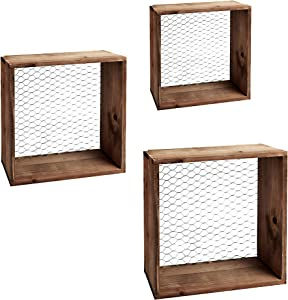 The Happy Home Chicken Wire Farmhouse Rustic Wood Wall Floating Shelves Fixer Upper Style. Farmhouse Decor or Spring Decor - Storage Shelves Set of 3