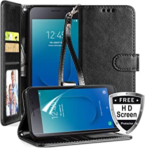 Samsung Galaxy J2 Core Case,Galaxy J2/Galaxy J2 Dash/Galaxy J2 Pure/J260/J2 Shine Phone Case w Screen Protector Kickstand Card Slots Wristlet Crazy Horse PU Leather Wallet Case,Black
