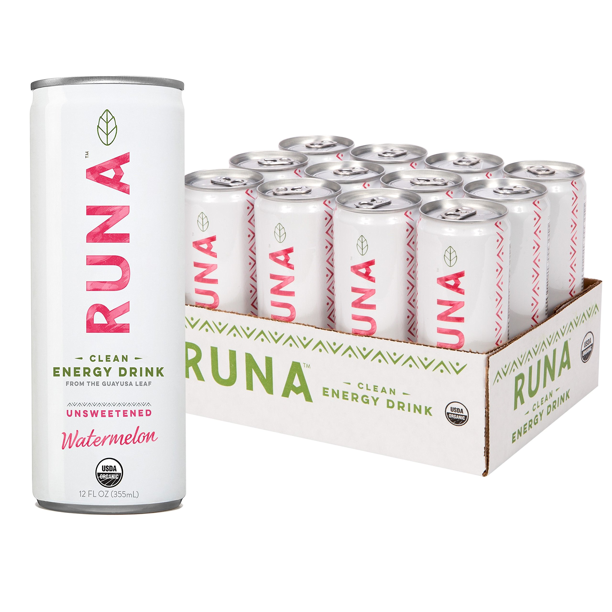 RUNA Organic Clean Energy Drink from the Guayusa Leaf, Unsweetened Watermelon, 12 Fluid Ounce (Pack of 12)