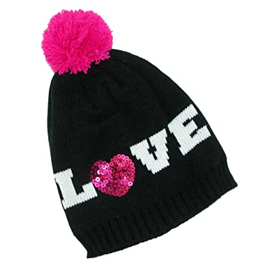 61f2ca649aa Image Unavailable. Image not available for. Colour  CTM Girls  Sequin Knit  Hat with Pom