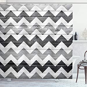 """Ambesonne Chevron Shower Curtain, Zig Zag Lines Pattern on Wooden Texture Background Rustic Home Print, Cloth Fabric Bathroom Decor Set with Hooks, 70"""" Long, Grey WhiteSmoke"""