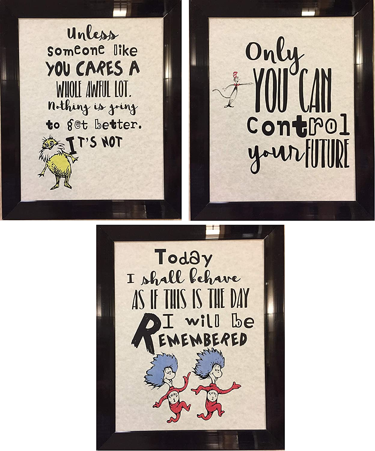 Set of 3 Dr. Seuss Inspirational Quotes Prints Artwork Picture Poster Home Office Bedroom Nursery Kitchen Wall Decor - unframed