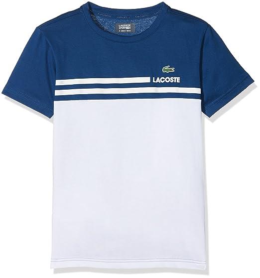 38bbe562c7 Lacoste Boy's TJ5723 Short Sleeve T - Shirt - Blue - 8 Years